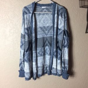 Maurice's XS Aztec Open Cardigan Blue Sweater